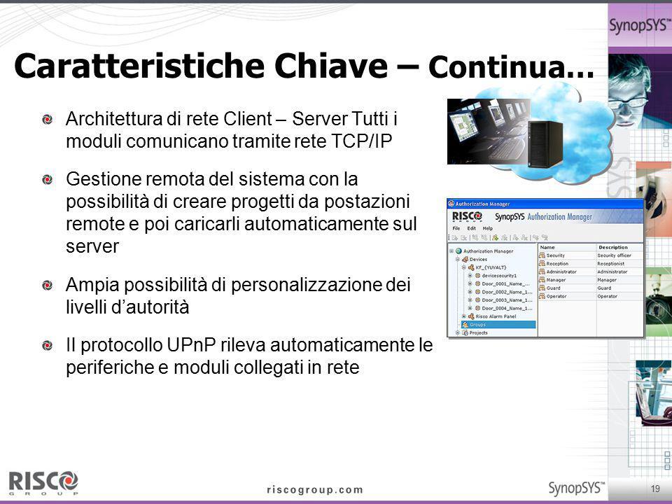 19 Caratteristiche Chiave – Continua… Architettura di rete Client – Server Tutti i moduli comunicano tramite rete TCP/IP Gestione remota del sistema c