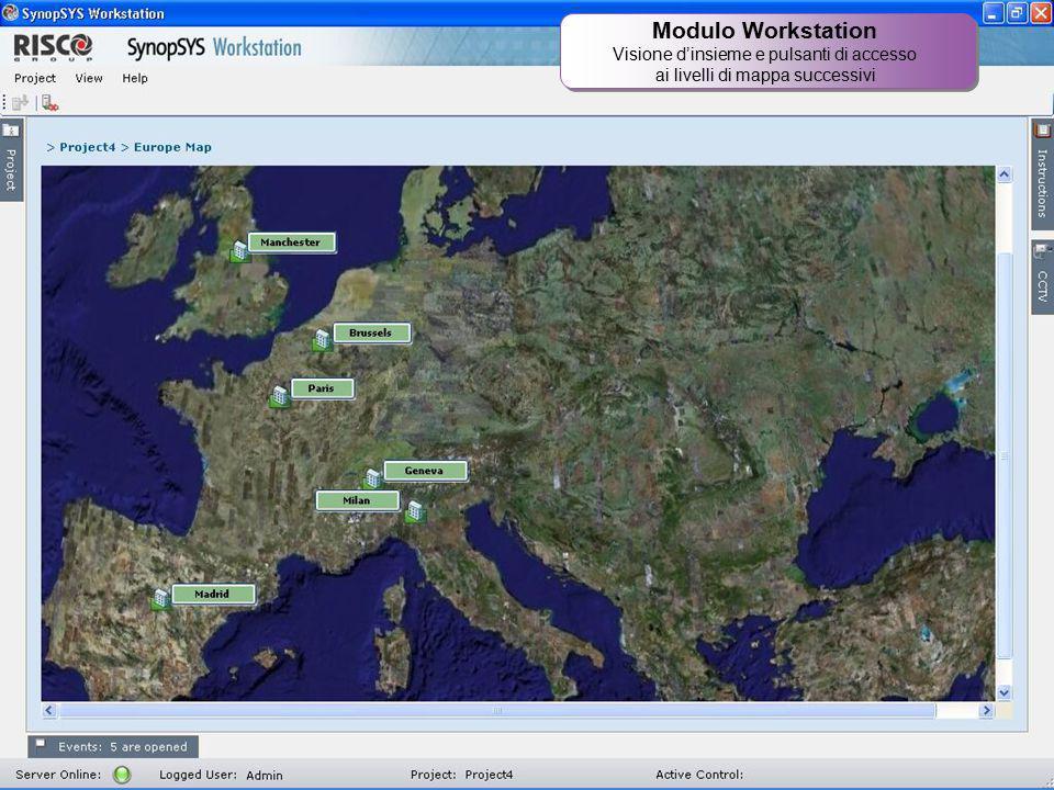 21 Modulo Workstation Visione d'insieme e pulsanti di accesso ai livelli di mappa successivi Modulo Workstation Visione d'insieme e pulsanti di access