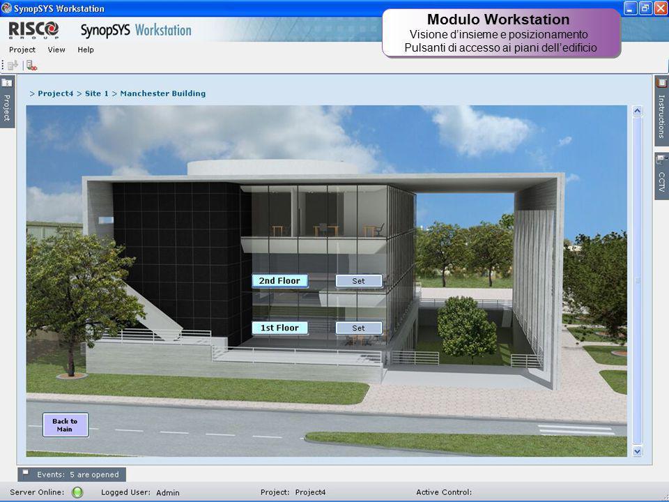 22 Modulo Workstation Visione d'insieme e posizionamento Pulsanti di accesso ai piani dell'edificio Modulo Workstation Visione d'insieme e posizioname