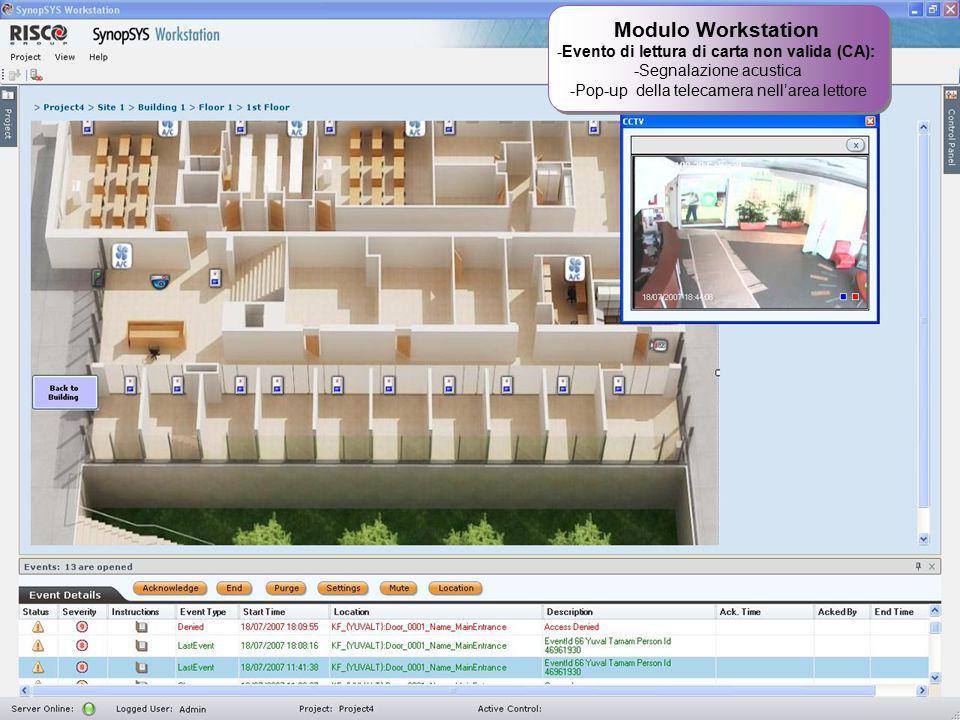 25 Modulo Workstation -Evento di lettura di carta non valida (CA): -Segnalazione acustica -Pop-up della telecamera nell'area lettore Modulo Workstatio