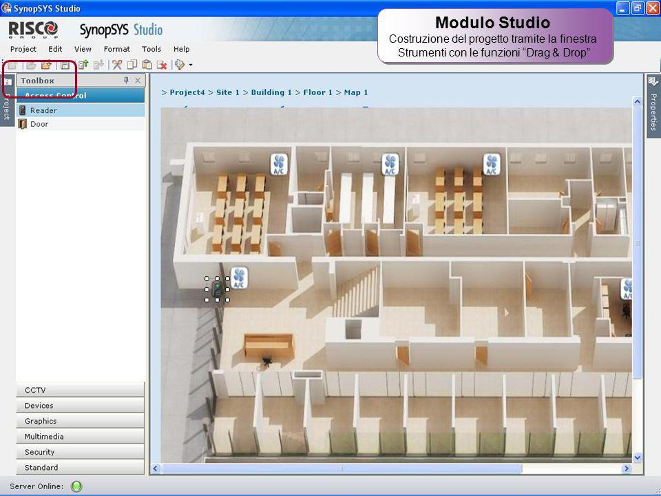 """29 Modulo Studio Costruzione del progetto tramite la finestra Strumenti con le funzioni """"Drag & Drop"""" Modulo Studio Costruzione del progetto tramite l"""