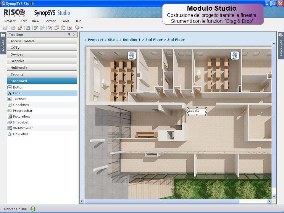 """31 Modulo Studio Costruzione del progetto tramite la finestra Strumenti con le funzioni """"Drag & Drop"""" Modulo Studio Costruzione del progetto tramite l"""