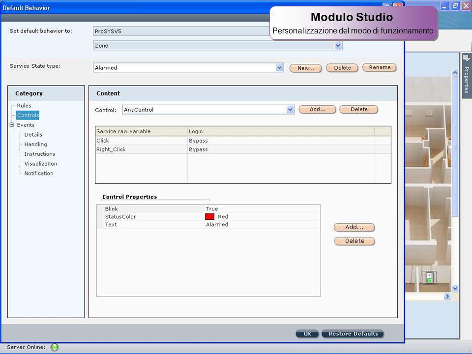 32 Modulo Studio Personalizzazione del modo di funzionamento Modulo Studio Personalizzazione del modo di funzionamento