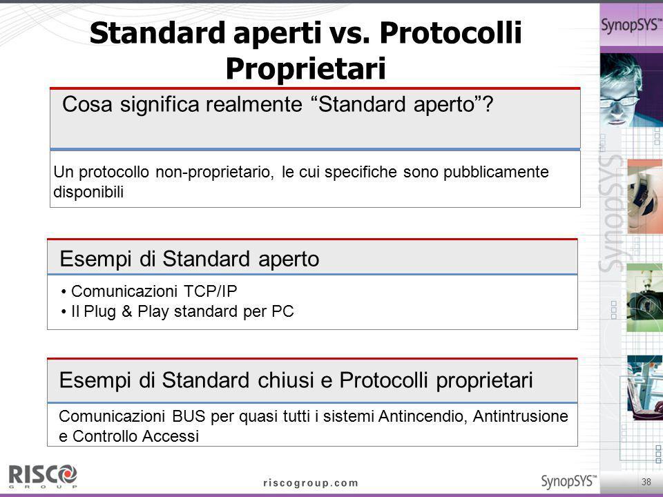 """38 Standard aperti vs. Protocolli Proprietari Cosa significa realmente """"Standard aperto""""? Un protocollo non-proprietario, le cui specifiche sono pubbl"""