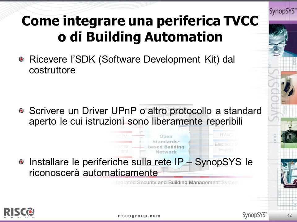 42 Come integrare una periferica TVCC o di Building Automation Ricevere l'SDK (Software Development Kit) dal costruttore Scrivere un Driver UPnP o alt