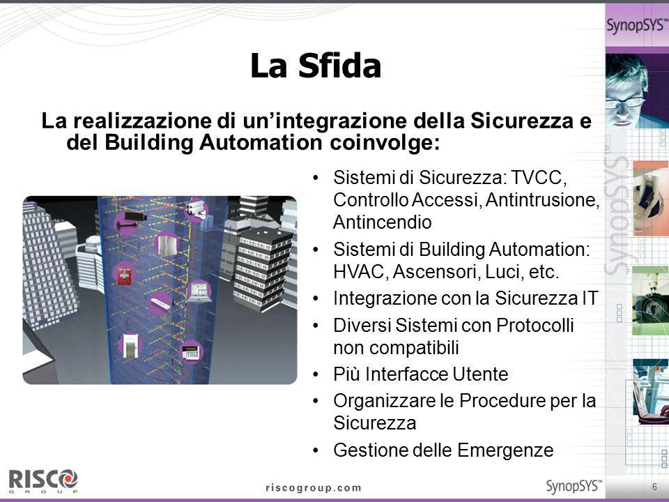 6 La Sfida La realizzazione di un'integrazione della Sicurezza e del Building Automation coinvolge: Sistemi di Sicurezza: TVCC, Controllo Accessi, Ant