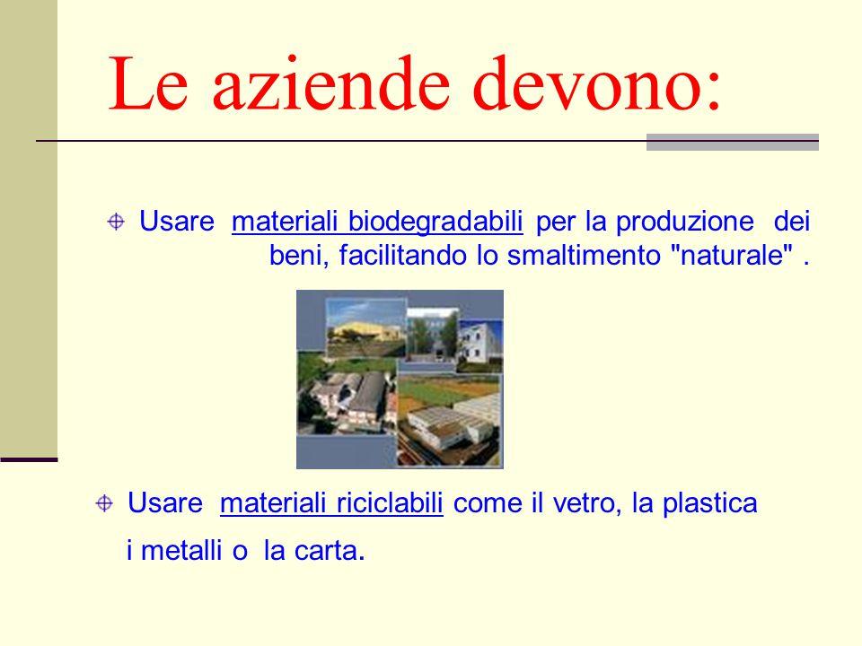 Le aziende devono: Usare materiali biodegradabili per la produzione dei beni, facilitando lo smaltimento
