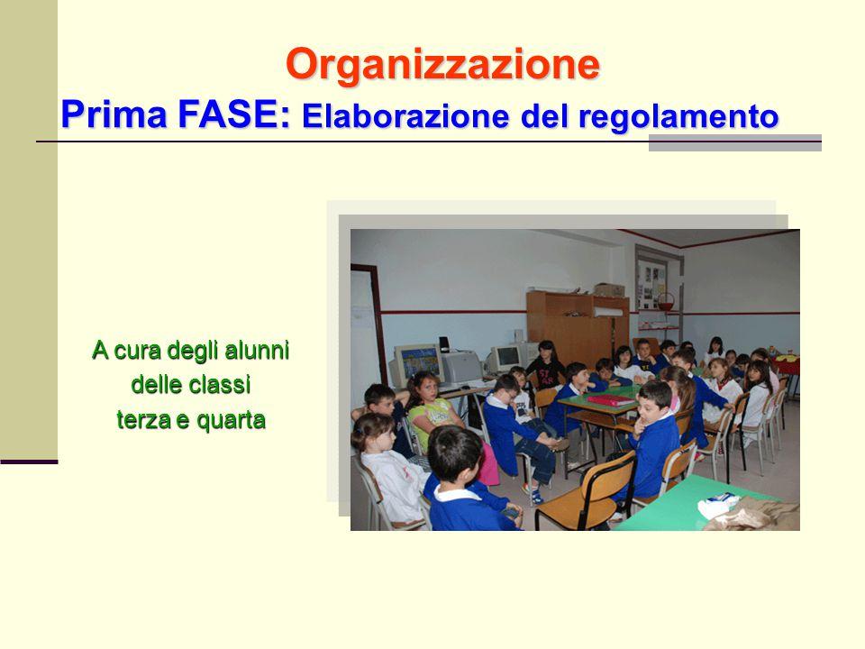 A cura degli alunni delle classi terza e quarta Prima FASE: Elaborazione del regolamento Organizzazione