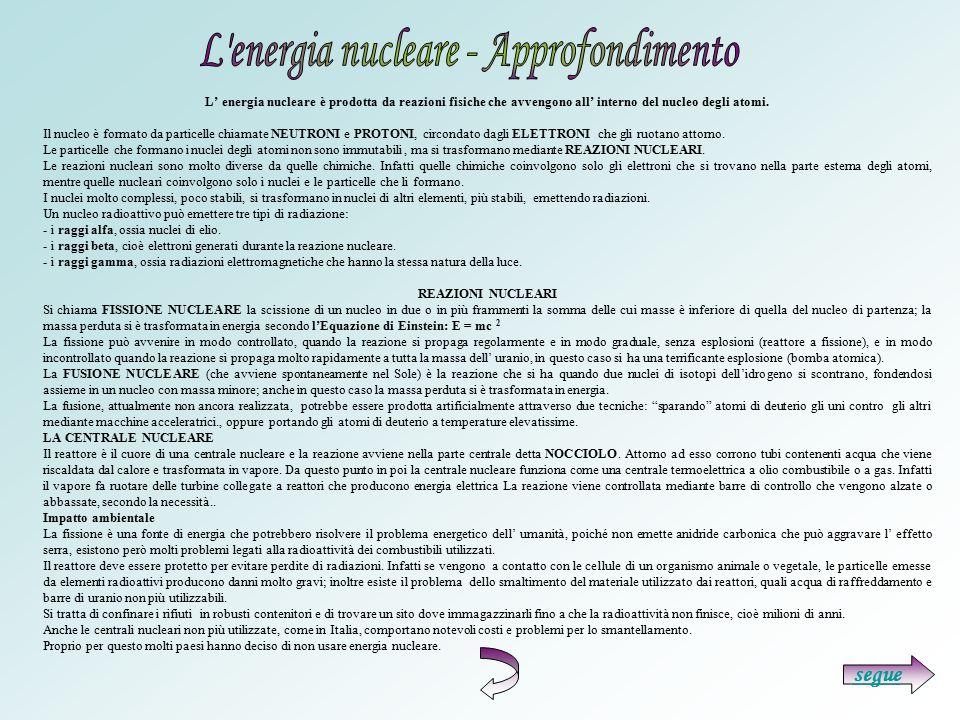 L' energia nucleare è prodotta da reazioni fisiche che avvengono all' interno del nucleo degli atomi. Il nucleo è formato da particelle chiamate NEUTR