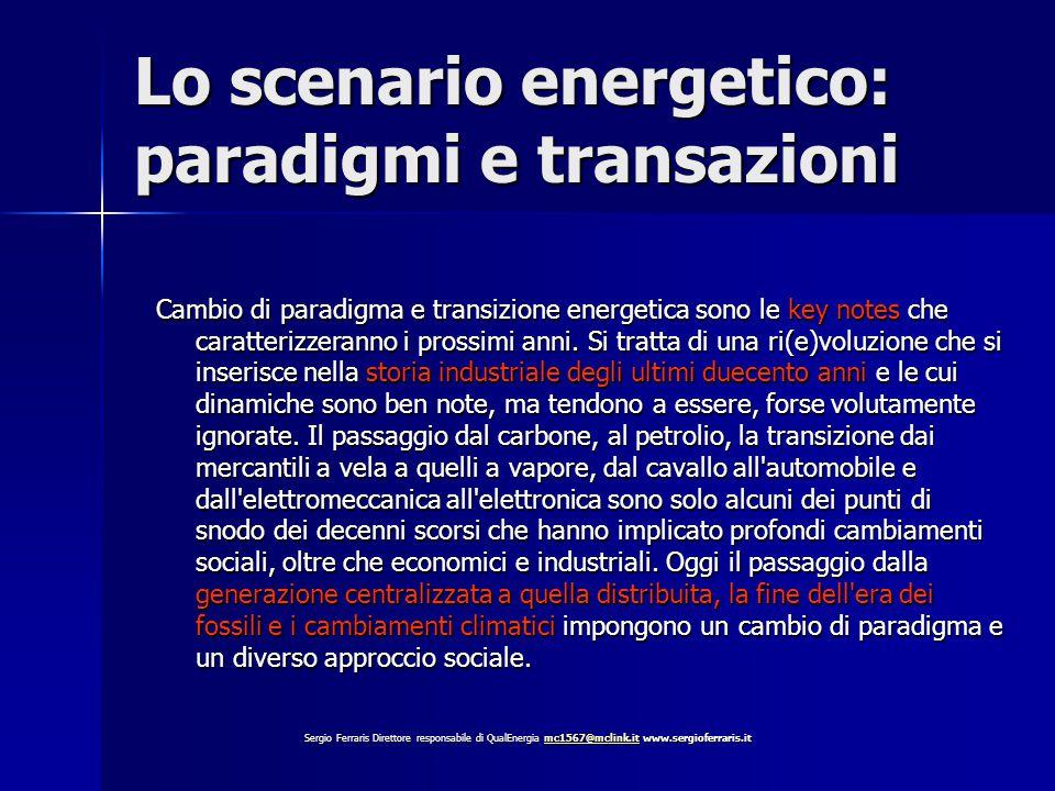 Lo scenario energetico: paradigmi e transazioni Cambio di paradigma e transizione energetica sono le key notes che caratterizzeranno i prossimi anni.