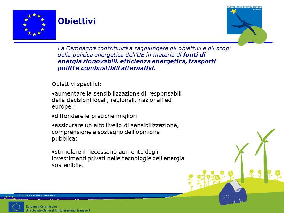 Obiettivi specifici: aumentare la sensibilizzazione di responsabili delle decisioni locali, regionali, nazionali ed europei; diffondere le pratiche migliori assicurare un alto livello di sensibilizzazione, comprensione e sostegno dell'opinione pubblica; stimolare il necessario aumento degli investimenti privati nelle tecnologie dell'energia sostenibile.