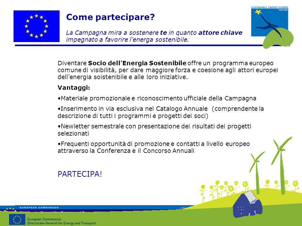 Diventare Socio dell'Energia Sostenibile offre un programma europeo comune di visibilità, per dare maggiore forza e coesione agli attori europei dell'energia soistenibile e alle loro iniziative.
