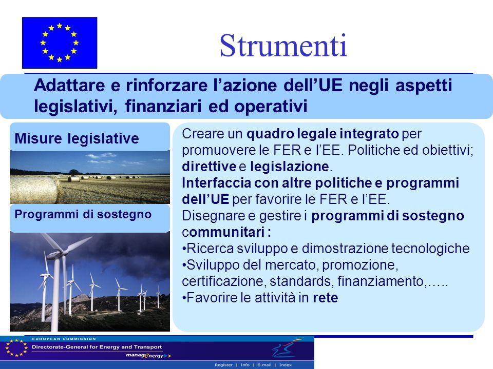 Adattare e rinforzare l'azione dell'UE negli aspetti legislativi, finanziari ed operativi Misure legislative Programmi di sostegno Creare un quadro legale integrato per promuovere le FER e l'EE.