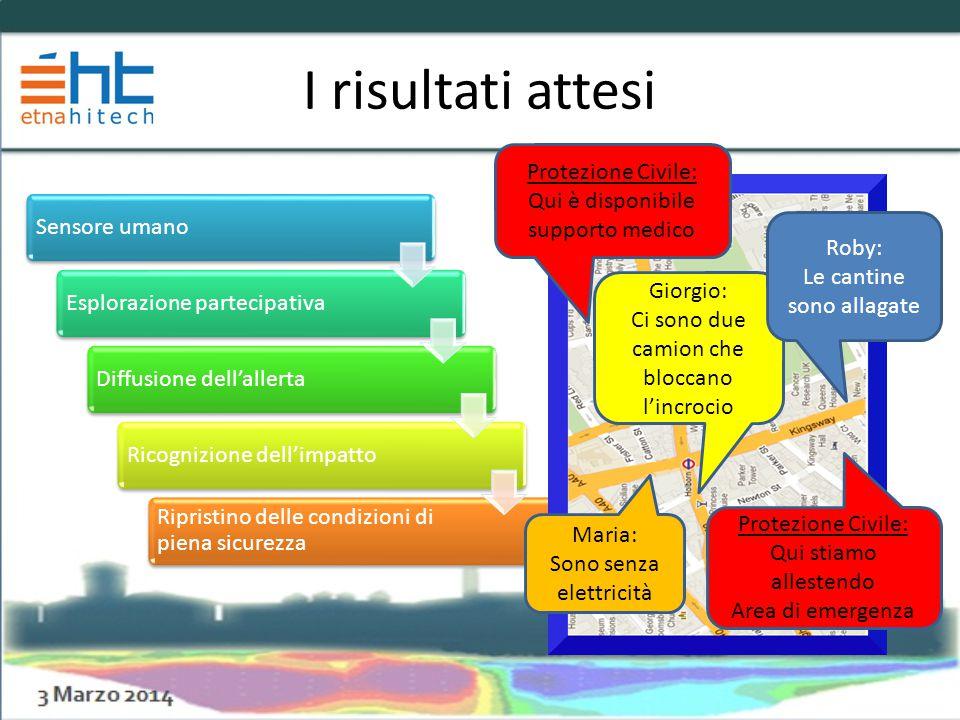 I risultati attesi Sensore umanoEsplorazione partecipativaDiffusione dell'allertaRicognizione dell'impatto Ripristino delle condizioni di piena sicure