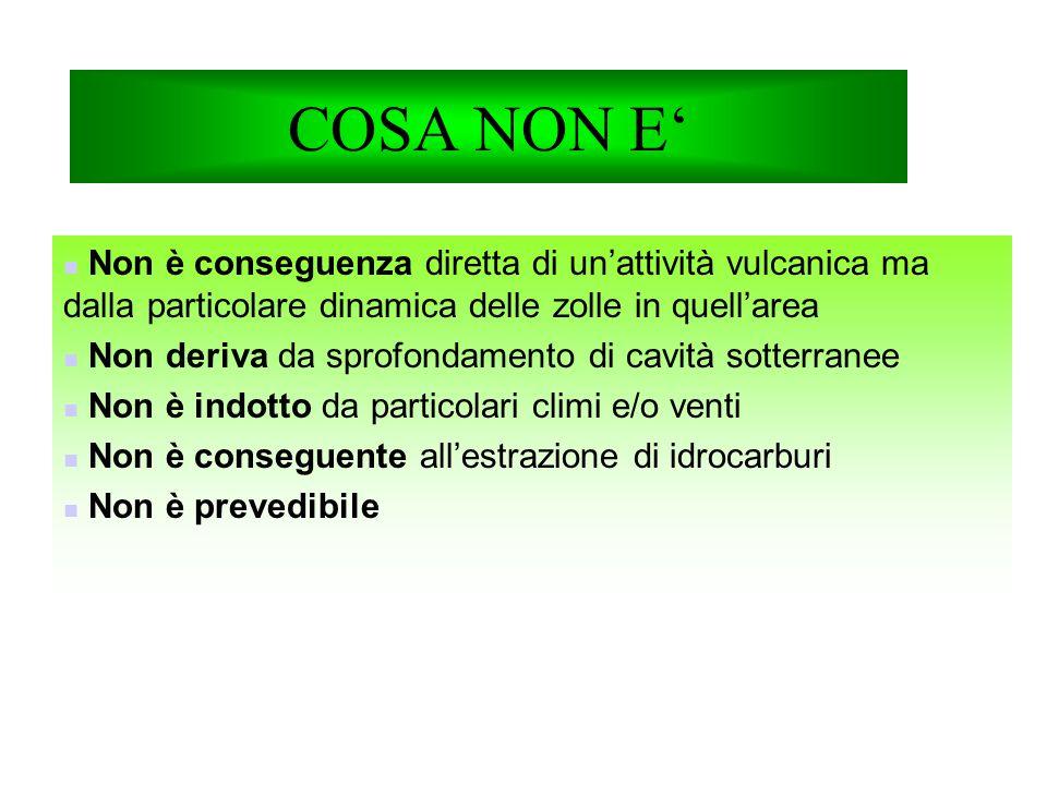 COSA NON E' Non è conseguenza diretta di un'attività vulcanica ma dalla particolare dinamica delle zolle in quell'area Non deriva da sprofondamento di cavità sotterranee Non è indotto da particolari climi e/o venti Non è conseguente all'estrazione di idrocarburi Non è prevedibile