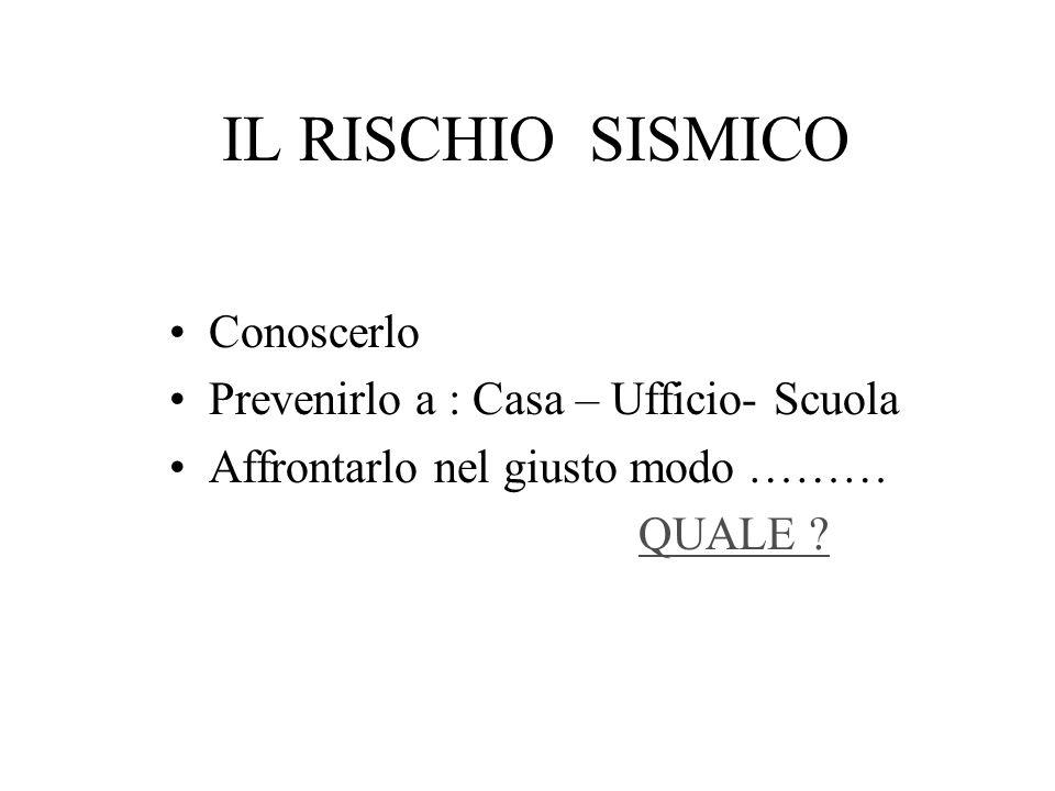 IL RISCHIO SISMICO Conoscerlo Prevenirlo a : Casa – Ufficio- Scuola Affrontarlo nel giusto modo ……… QUALE ?