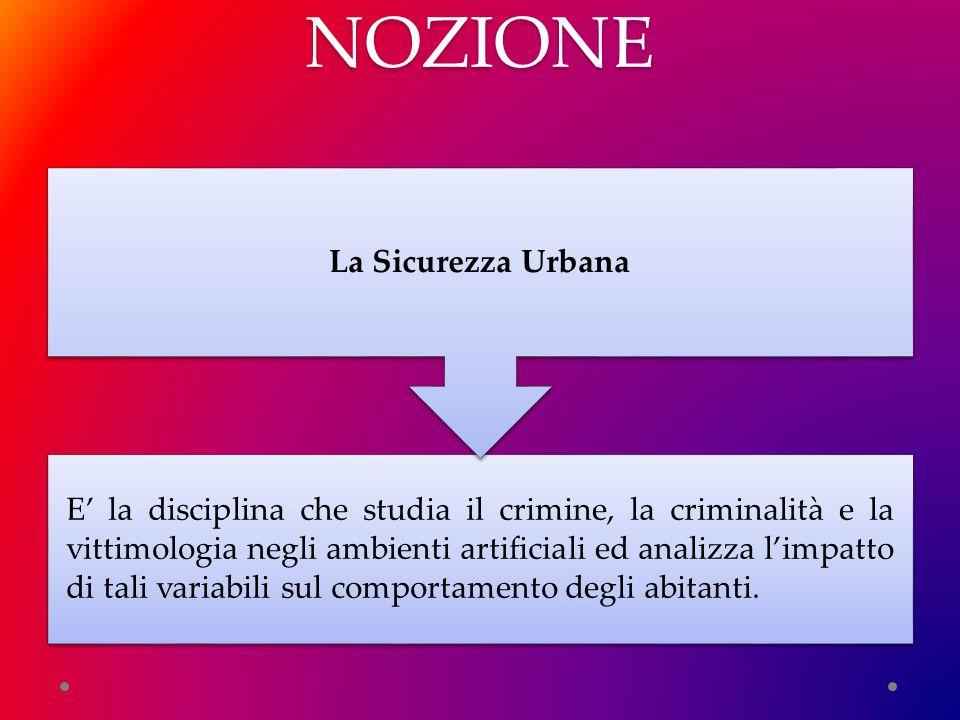 NOZIONE E' la disciplina che studia il crimine, la criminalità e la vittimologia negli ambienti artificiali ed analizza l'impatto di tali variabili sul comportamento degli abitanti.