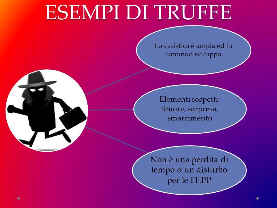 ESEMPI DI TRUFFE La casistica è ampia ed in continuo sviluppo Elementi sospetti: timore, sorpresa, smarrimento Non è una perdita di tempo o un disturbo per le FF.PP