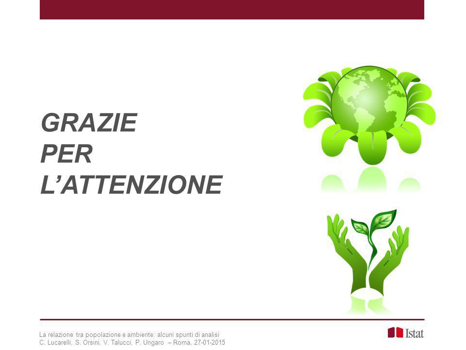 GRAZIE PER L'ATTENZIONE La relazione tra popolazione e ambiente: alcuni spunti di analisi C. Lucarelli, S. Orsini, V. Talucci, P. Ungaro – Roma, 27-01