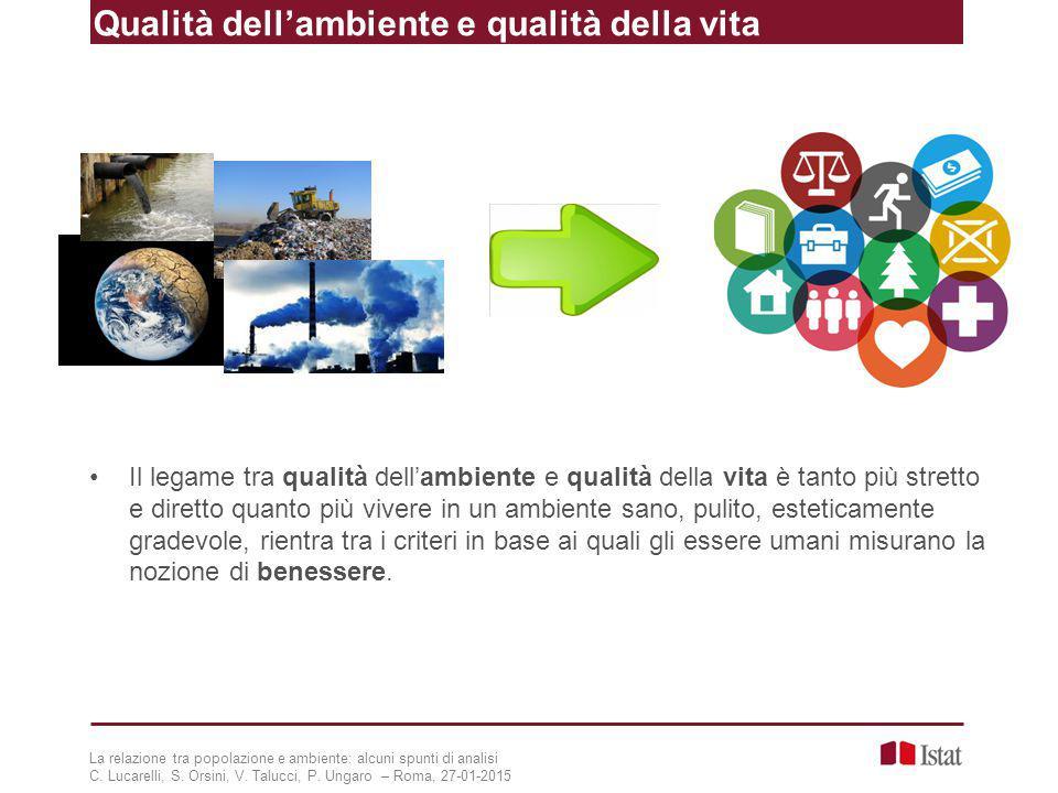Qualità dell'ambiente e qualità della vita La relazione tra popolazione e ambiente: alcuni spunti di analisi C. Lucarelli, S. Orsini, V. Talucci, P. U