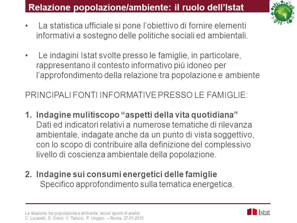 La statistica ufficiale si pone l'obiettivo di fornire elementi informativi a sostegno delle politiche sociali ed ambientali. Le indagini Istat svolte