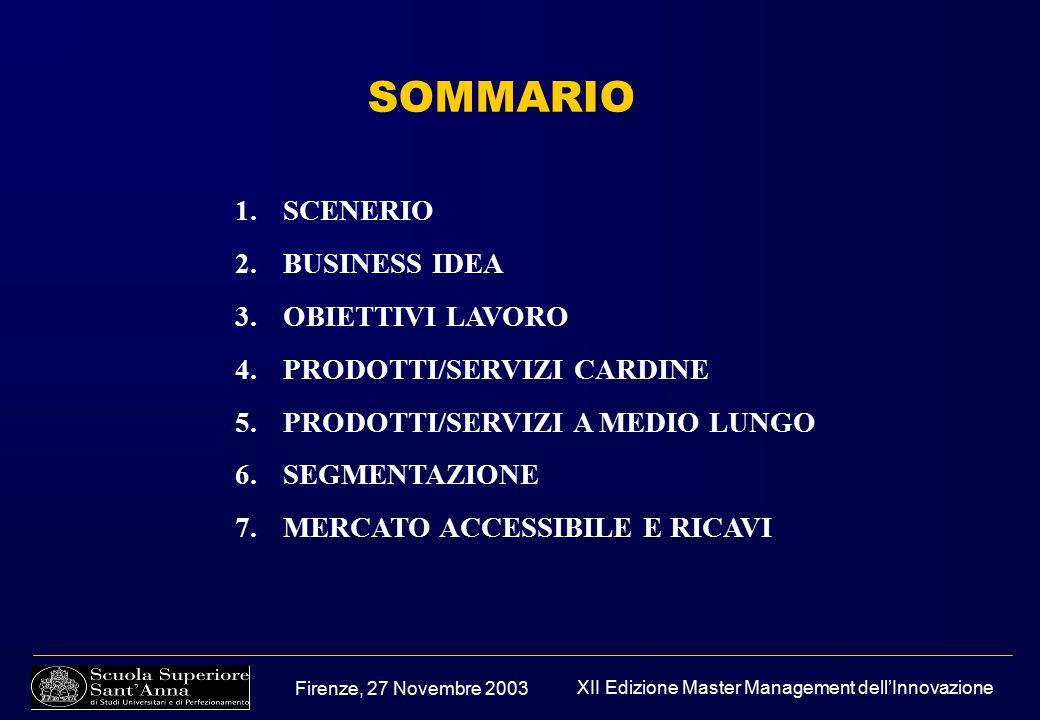 Firenze, 27 Novembre 2003 XII Edizione Master Management dell'Innovazione 1.SCENERIO 2.BUSINESS IDEA 3.OBIETTIVI LAVORO 4.PRODOTTI/SERVIZI CARDINE 5.PRODOTTI/SERVIZI A MEDIO LUNGO 6.SEGMENTAZIONE 7.MERCATO ACCESSIBILE E RICAVI SOMMARIO