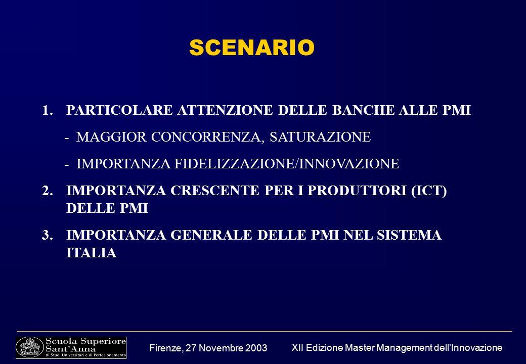 Firenze, 27 Novembre 2003 XII Edizione Master Management dell'Innovazione SCENARIO 1.PARTICOLARE ATTENZIONE DELLE BANCHE ALLE PMI - MAGGIOR CONCORRENZA, SATURAZIONE - IMPORTANZA FIDELIZZAZIONE/INNOVAZIONE 2.IMPORTANZA CRESCENTE PER I PRODUTTORI (ICT) DELLE PMI 3.IMPORTANZA GENERALE DELLE PMI NEL SISTEMA ITALIA