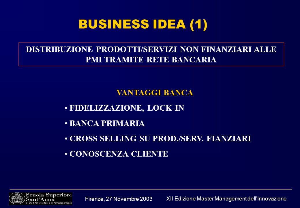 Firenze, 27 Novembre 2003 XII Edizione Master Management dell'Innovazione BUSINESS IDEA (1) DISTRIBUZIONE PRODOTTI/SERVIZI NON FINANZIARI ALLE PMI TRAMITE RETE BANCARIA VANTAGGI BANCA FIDELIZZAZIONE, LOCK-IN BANCA PRIMARIA CROSS SELLING SU PROD./SERV.