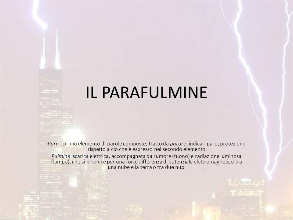 FUNZIONE Il parafulmine è uno strumento concepito per scaricare a terra l'energia elettrica prodotta da fenomeni meteorologici come i temporali, al fine di proteggere gli edifici su cui è installato.