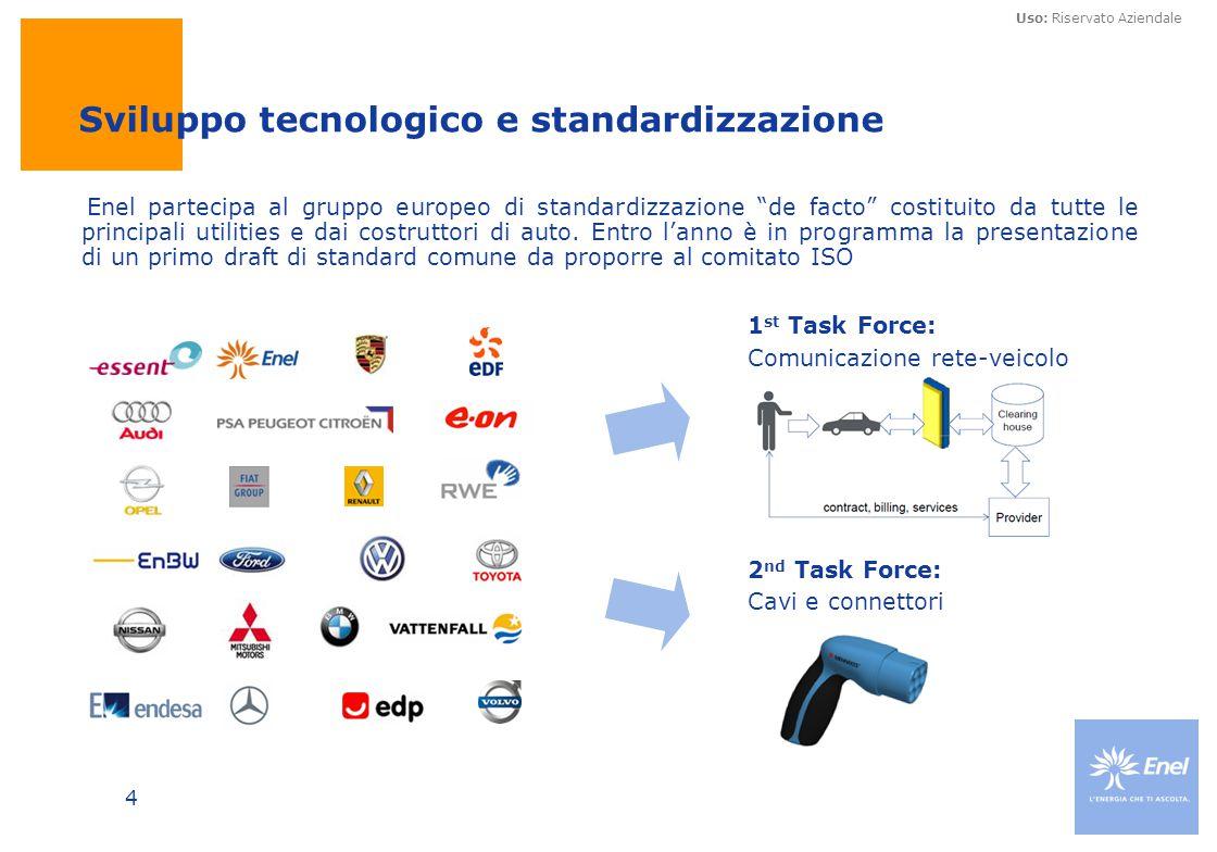 Uso: Riservato Aziendale 4 Sviluppo tecnologico e standardizzazione 1 st Task Force: Comunicazione rete-veicolo 2 nd Task Force: Cavi e connettori Ene