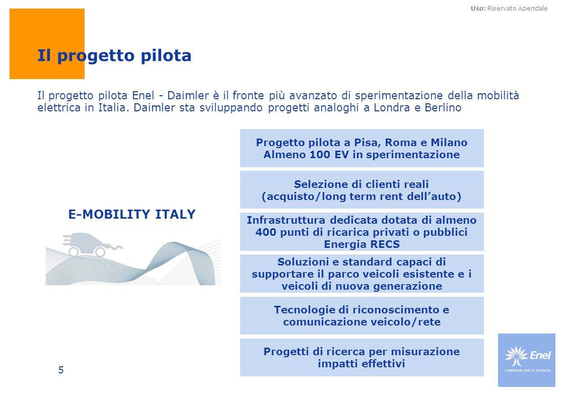 Uso: Riservato Aziendale 5 Il progetto pilota Enel - Daimler è il fronte più avanzato di sperimentazione della mobilità elettrica in Italia. Daimler s