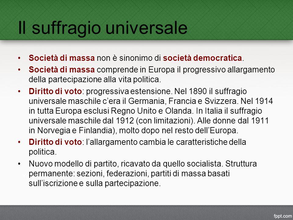 Il suffragio universale Società di massa non è sinonimo di società democratica.