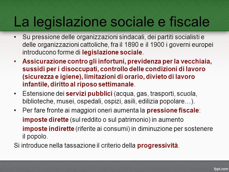 La legislazione sociale e fiscale Su pressione delle organizzazioni sindacali, dei partiti socialisti e delle organizzazioni cattoliche, fra il 1890 e il 1900 i governi europei introducono forme di legislazione sociale.