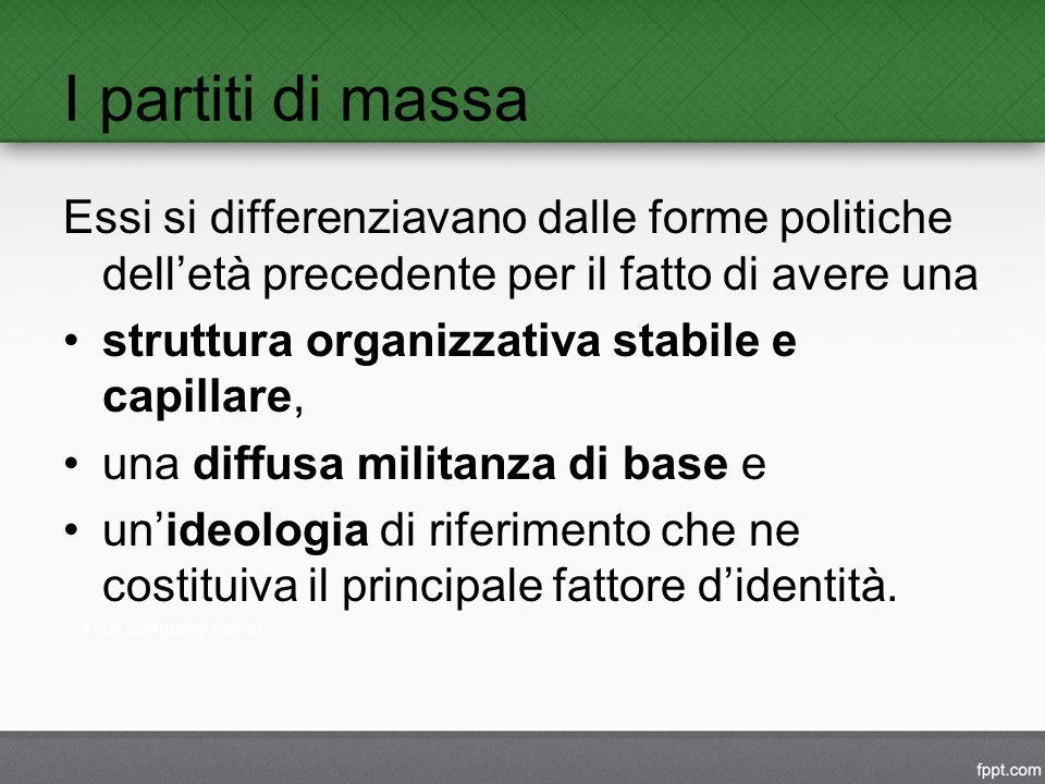 I partiti di massa Essi si differenziavano dalle forme politiche dell'età precedente per il fatto di avere una struttura organizzativa stabile e capillare, una diffusa militanza di base e un'ideologia di riferimento che ne costituiva il principale fattore d'identità.