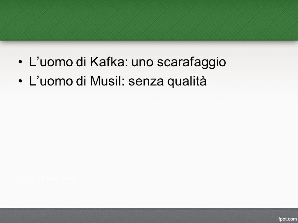 L'uomo di Kafka: uno scarafaggio L'uomo di Musil: senza qualità