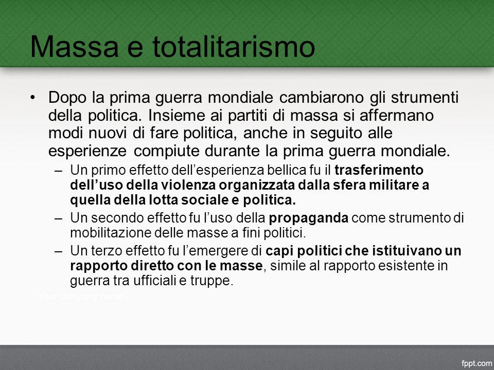 Massa e totalitarismo Dopo la prima guerra mondiale cambiarono gli strumenti della politica.