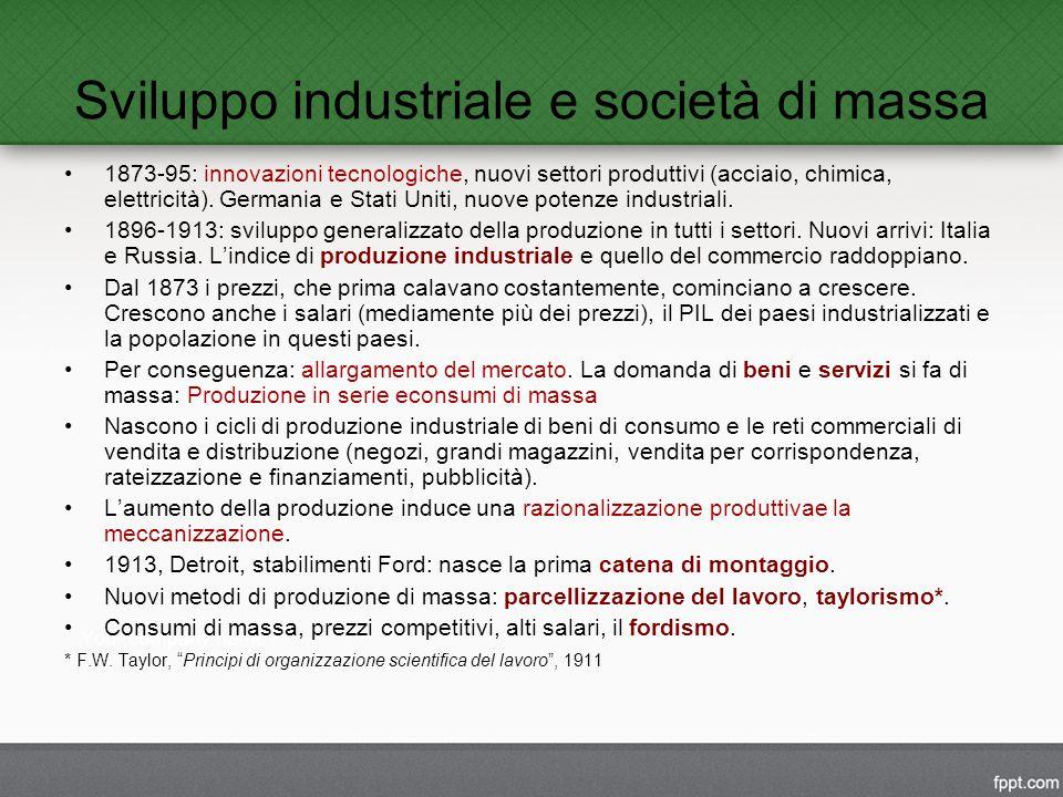 Sviluppo industriale e società di massa 1873-95: innovazioni tecnologiche, nuovi settori produttivi (acciaio, chimica, elettricità).