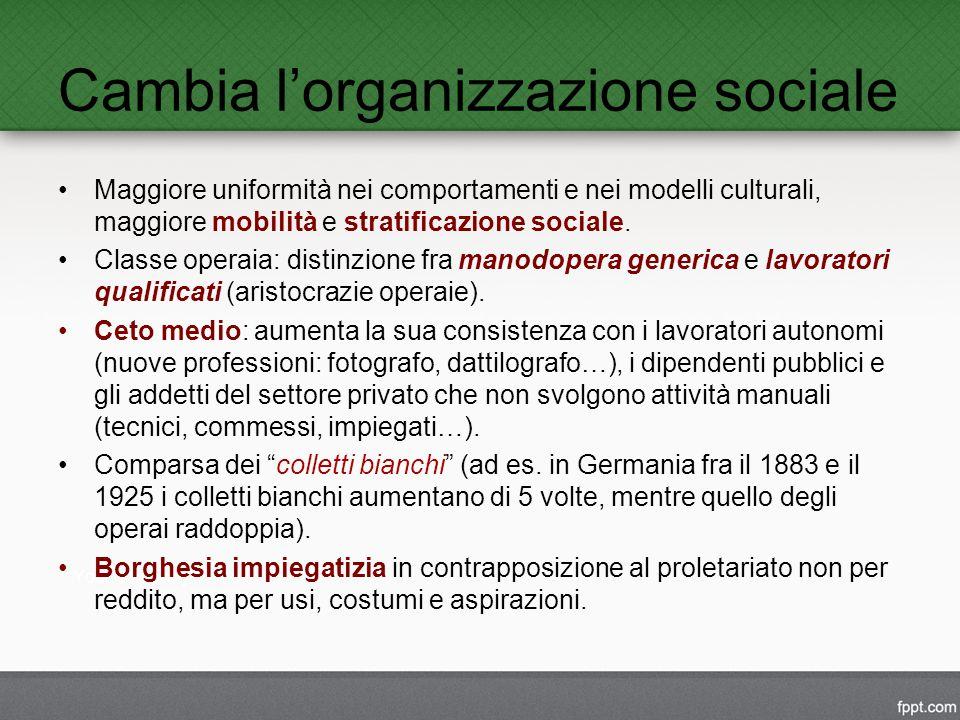 Cambia l'organizzazione sociale Maggiore uniformità nei comportamenti e nei modelli culturali, maggiore mobilità e stratificazione sociale.