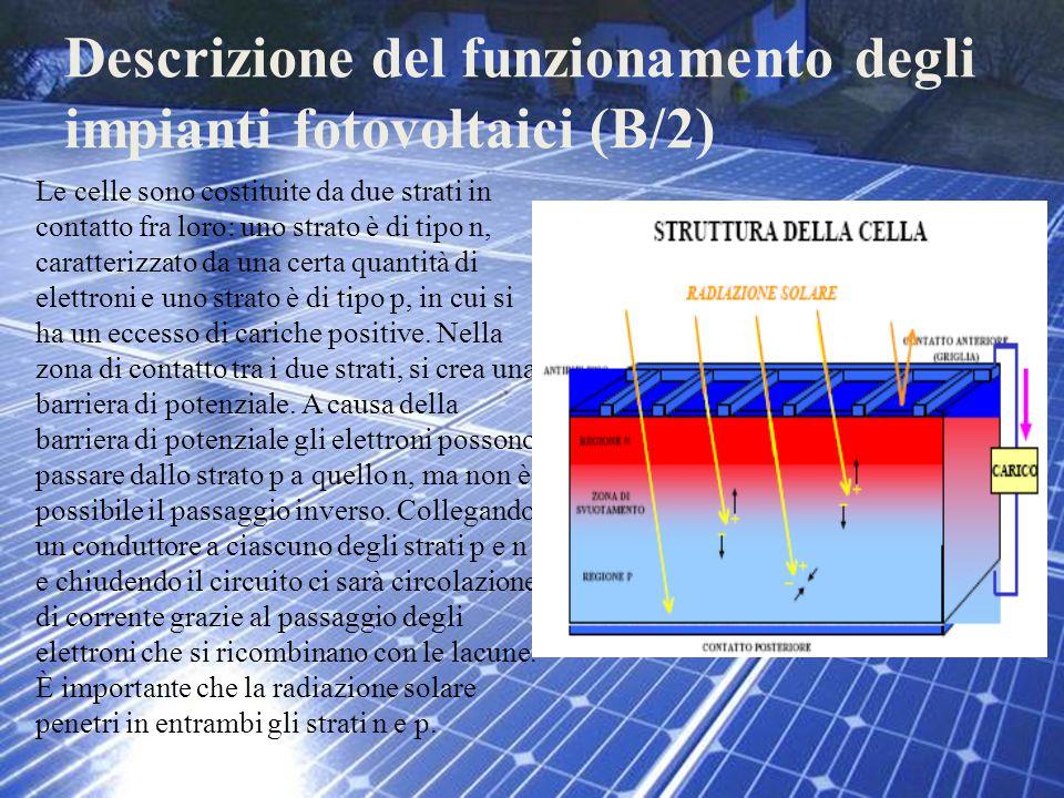Descrizione del funzionamento degli impianti fotovoltaici (B/2) Le celle sono costituite da due strati in contatto fra loro: uno strato è di tipo n, c