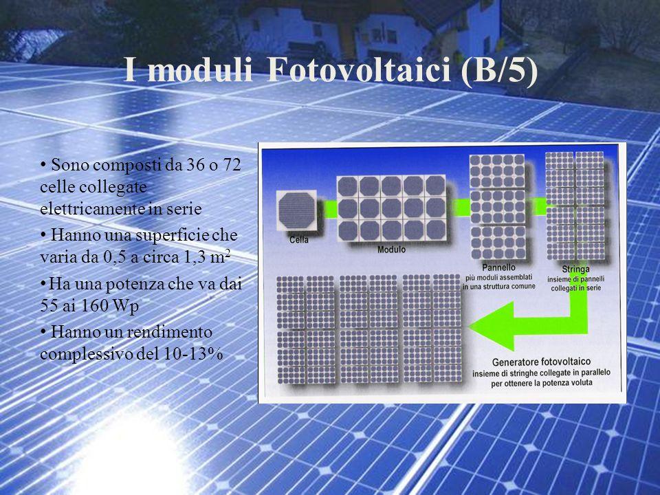 I moduli Fotovoltaici (B/5) Sono composti da 36 o 72 celle collegate elettricamente in serie Hanno una superficie che varia da 0,5 a circa 1,3 m 2 Ha
