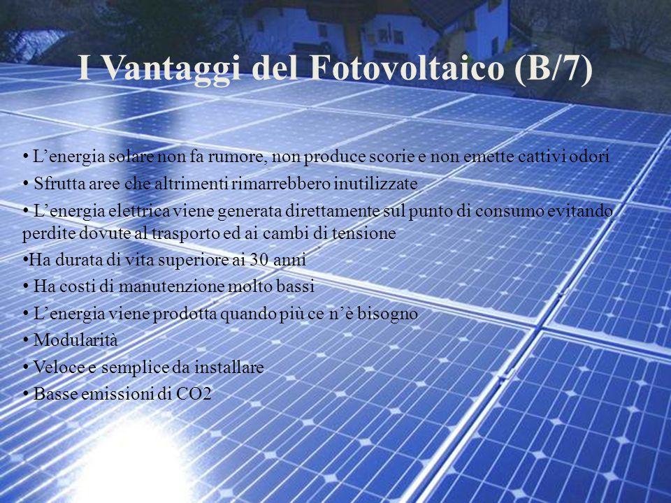 I Vantaggi del Fotovoltaico (B/7) L'energia solare non fa rumore, non produce scorie e non emette cattivi odori Sfrutta aree che altrimenti rimarrebbe