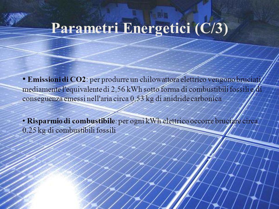 Parametri Energetici (C/3) Emissioni di CO2: per produrre un chilowattora elettrico vengono bruciati mediamente l'equivalente di 2,56 kWh sotto forma