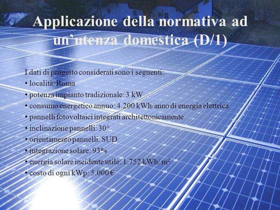 Applicazione della normativa ad un'utenza domestica (D/1) I dati di progetto considerati sono i seguenti: località: Roma potenza impianto tradizionale