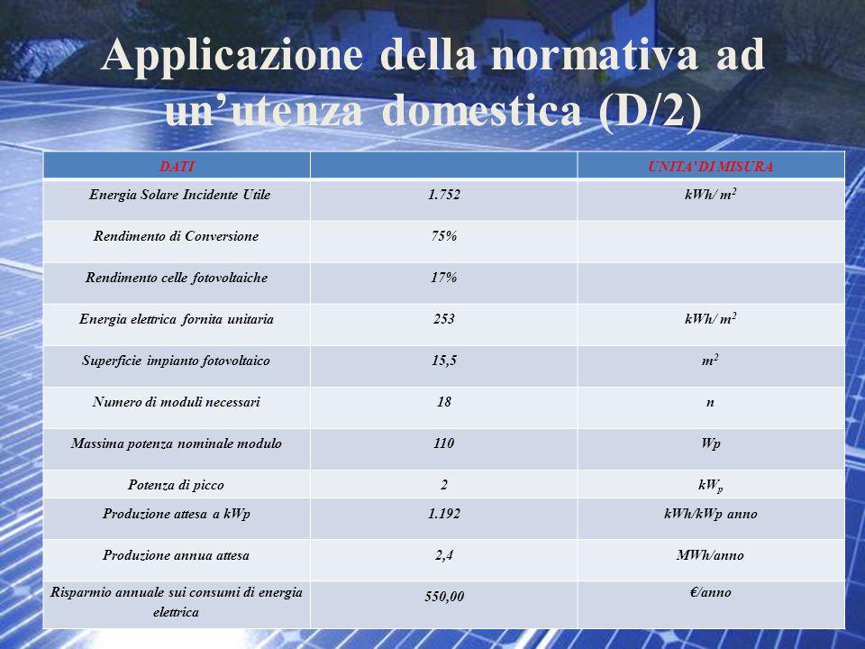 Applicazione della normativa ad un'utenza domestica (D/2) DATIUNITA' DI MISURA Energia Solare Incidente Utile1.752kWh/ m 2 Rendimento di Conversione75