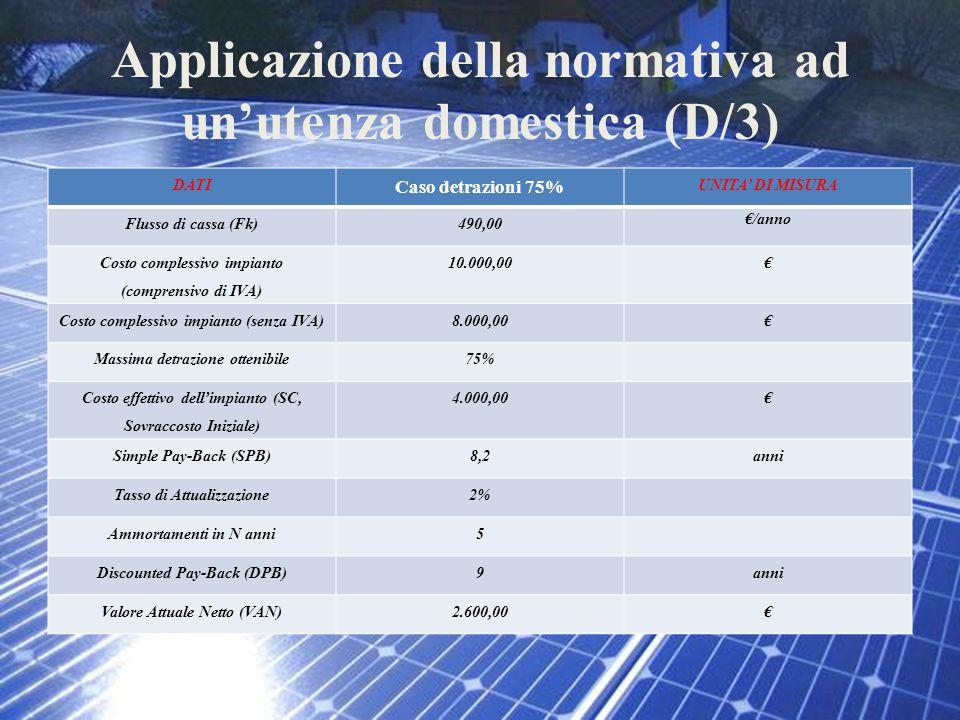 Applicazione della normativa ad un'utenza domestica (D/3) DATI Caso detrazioni 75% UNITA' DI MISURA Flusso di cassa (Fk)490,00 €/anno Costo complessiv