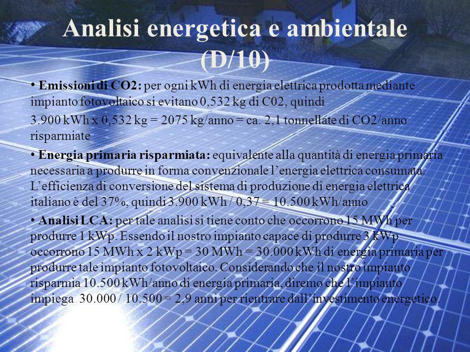 Analisi energetica e ambientale (D/10) Emissioni di CO2: per ogni kWh di energia elettrica prodotta mediante impianto fotovoltaico si evitano 0,532 kg