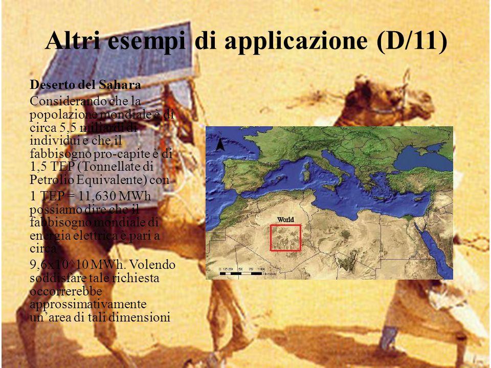 Altri esempi di applicazione (D/11) Deserto del Sahara Considerando che la popolazione mondiale è di circa 5,5 miliardi di individui e che il fabbisog