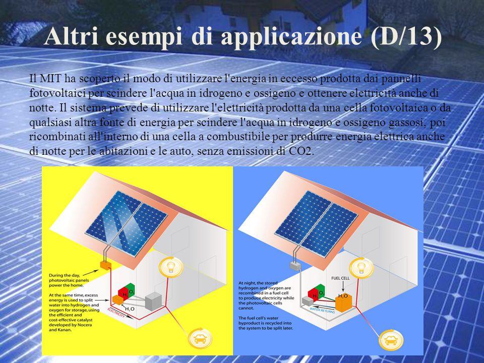 Altri esempi di applicazione (D/13) Il MIT ha scoperto il modo di utilizzare l'energia in eccesso prodotta dai pannelli fotovoltaici per scindere l'ac