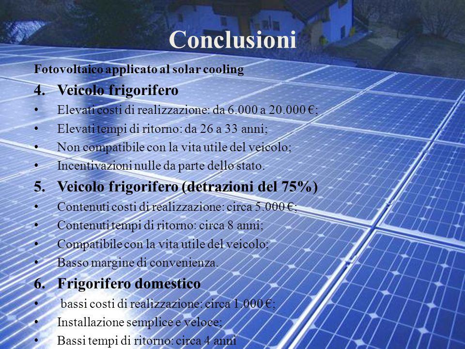 Conclusioni Fotovoltaico applicato al solar cooling 4.Veicolo frigorifero Elevati costi di realizzazione: da 6.000 a 20.000 €; Elevati tempi di ritorn