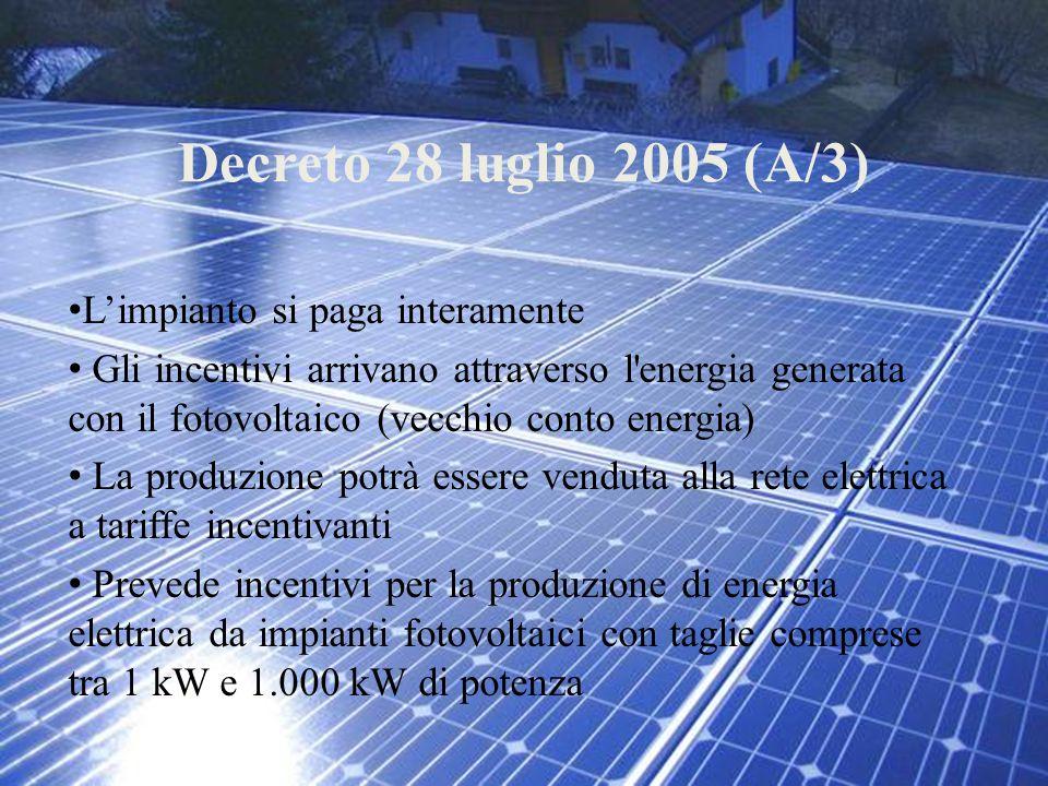 Decreto 28 luglio 2005 (A/3) L'impianto si paga interamente Gli incentivi arrivano attraverso l'energia generata con il fotovoltaico (vecchio conto en